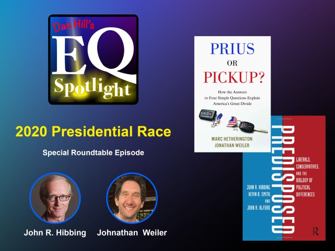 Images of the book Predisposed by John R. Hibbing and the book Prius and the Pick up by Johnathan Weiler for Dan Hill's EQ Spotlight
