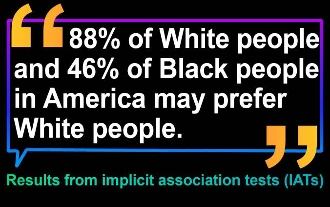 Implicit association tests (IATs) suggest a bias in America favoring Whites over people of color