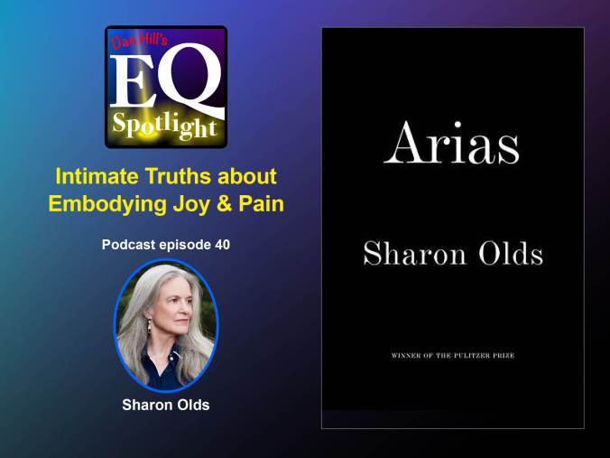 "Photo of poet Sharon Olds, and the cover of her book ""Arias"" for Dan Hill's EQ Podcast episode 40, titled Intimate Truths about Embodying Joy & Pain"""