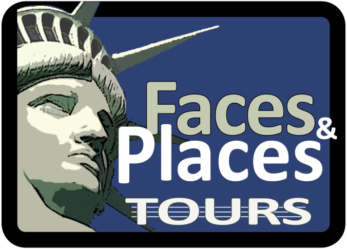 Logo of Faces and Places Tours has an image of the Statue of Liberty