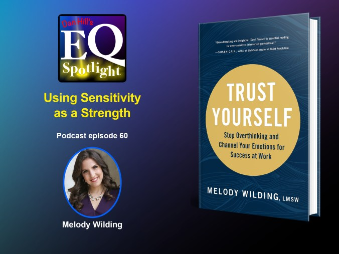 """An image of the author Melody Wilding and her new book """"Trust Yourself: Stop Overthinking and Channel Your Emotions for Success at Work"""" for Dan Hill's EQ Spotlight podcast episode 60."""