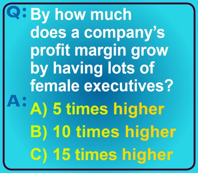 """An image of the question: """"By how much does a company's profit margin grow by having lots of female executives?"""" The choices are A) 5 times as high, B) 10 times as high, and C) 15 times as high."""