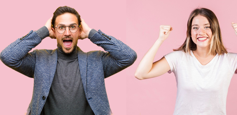 Girl overjoyed and man too, but for himself