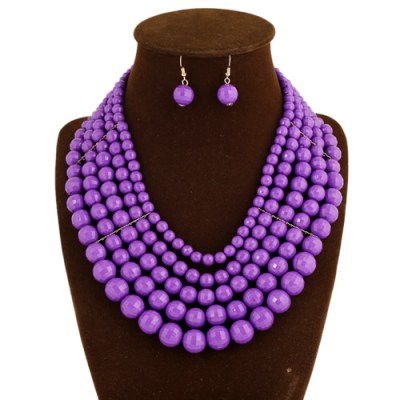 Emilia beaded necklace earring set purple