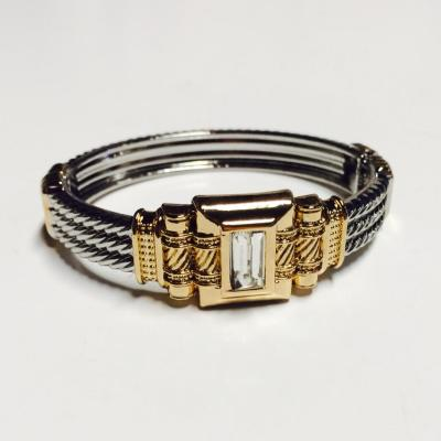 Central rectangle gem silver and gold bangle