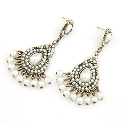 Pearl and white with antique gold chandelier earrings