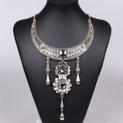 Rosina bohemian long silver necklace