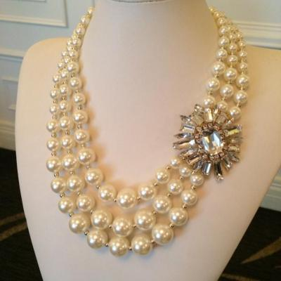 Triple strand pearl necklace with rhinestone pendant