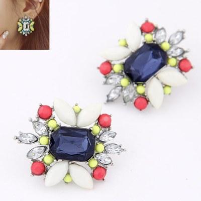 Vintage gem studs royal blue
