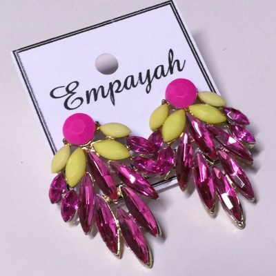 Hot pink and yellow oversized stud earrings
