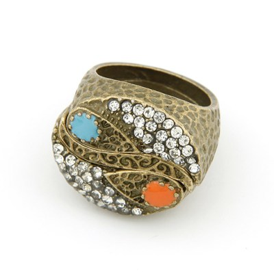 3 piece bronze ring in orange and blue with rhinestones