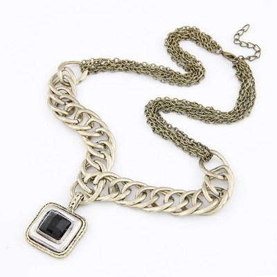 Bronze chunky and fine chain necklace with gold, silver and black square pendant