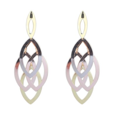 Brushed metal earrings in copper silver gold in fine oval style