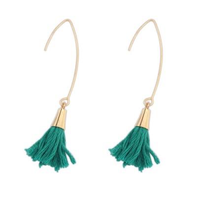 Gold long hook earrings with tassel in teal green
