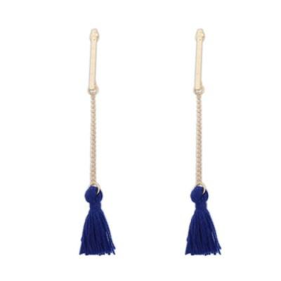 Gold long single chain tassel earring in blue