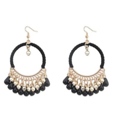 Kofi bohemian tribal gold chandelier earrings in black