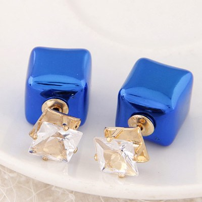 Reverse ball box stud earrings in high shine cobalt blue