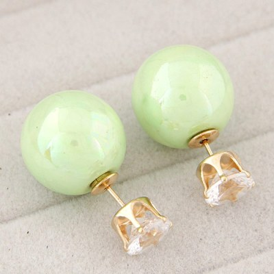 Reverse ball earrings pearlised in light green
