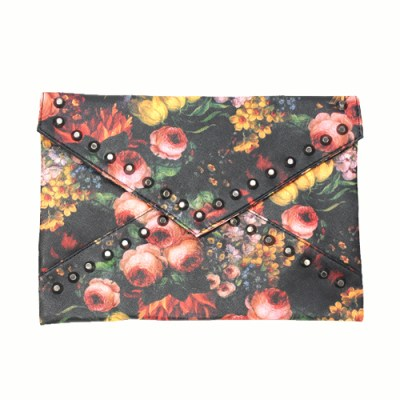 Roses with flat tipped gunmetal studded clutch bag