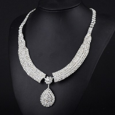 Bridal rhinestone tear drop necklace with matching earrings