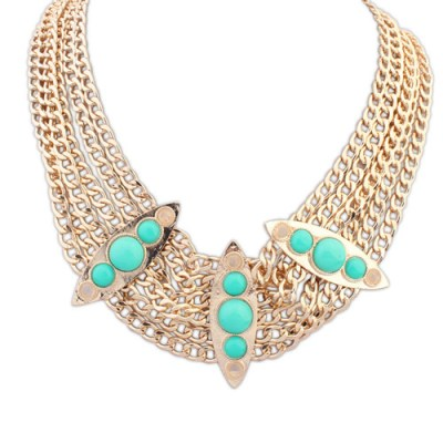 Hazeline statement green and gold necklace