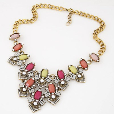 Jaina gem necklace in coral pink yellow