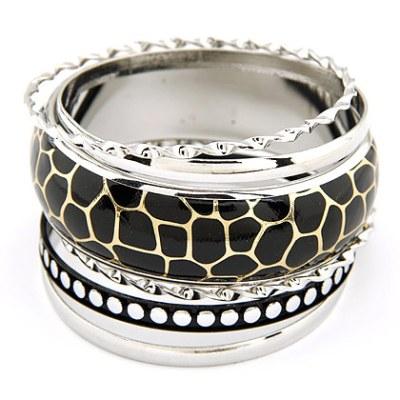 Giraffe print silver bangles