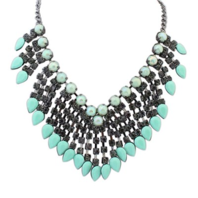 Christen statement necklace in mint green