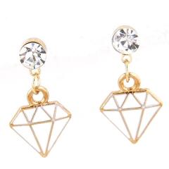 Diamond dangle earrings white