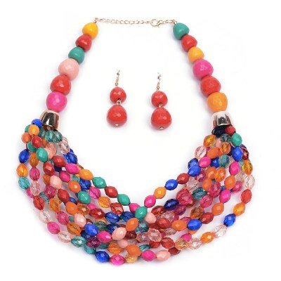 Graciella beaded necklace set flat lay