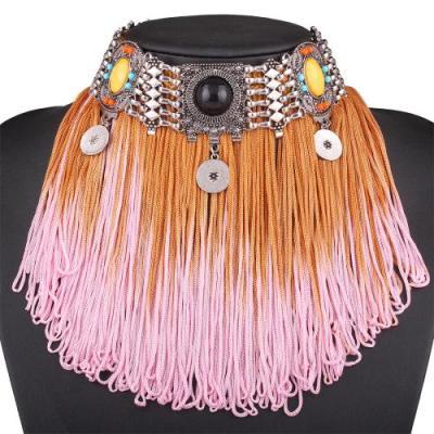 Kymani fringed choker pink coral