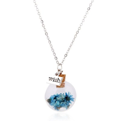Wish dome necklace blue