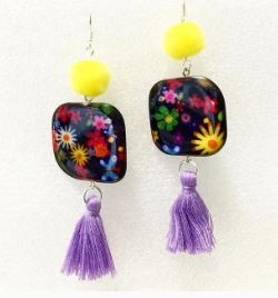 Field flowers earrings yellow pompoms lavender tassels