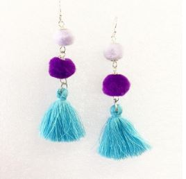 Handmade mini pom pom tassel earring blue and purple