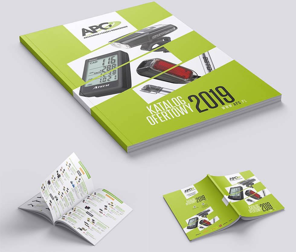 APG katalog 2019 APG to hurtownia akcesoriów rowerowych. Na potrzeby targów tworzyliśmy katalogi produktowe, ten prezentowany był 73-stronicowy. Projekt i druk po naszej stronie.