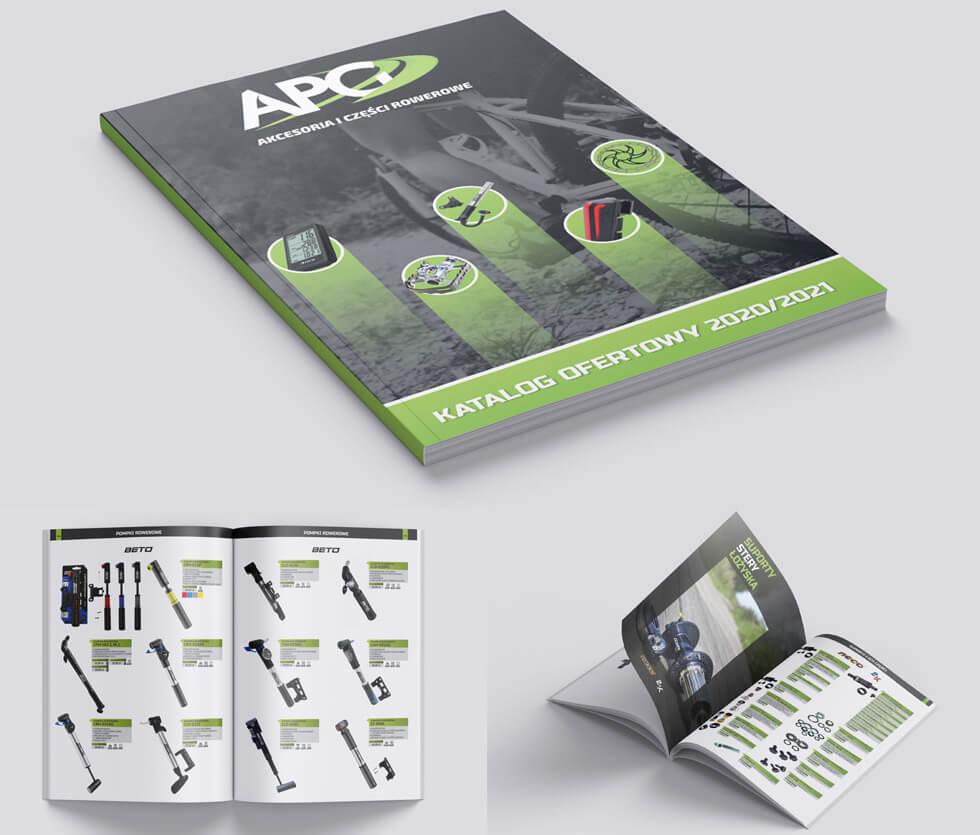 APG katalog 2020 APG to hurtownia akcesoriów rowerowych. Na potrzeby targów tworzyliśmy katalogi produktowe, ten prezentowany był 83-stronicowy. Projekt i druk po naszej stronie.