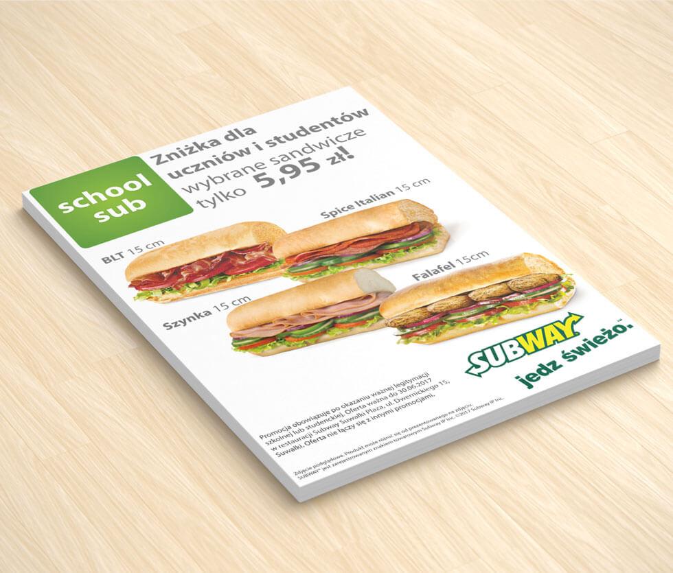 Subway Ulotka przygotowana dla sieci restauracji Subway – oferta szkolna.