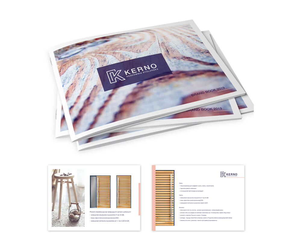 Kerno - Pracownia Stolarska Brand book prezentujący ofertę firmy Kerno na rok 2019. Projekt i druk po naszej stronie.