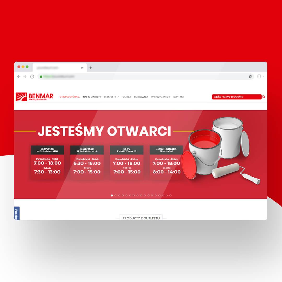 Grafika przedstawia zrzut ekranu przeglądarki internetowej. Widzimy stronę internetową benmar.com.pl