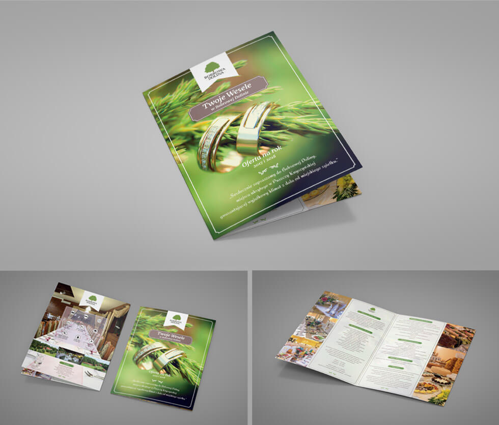 Bobrowa Dolina Folder prezentujący ofertę weselną hotelu Bobrowa Dolina. Projektowany i drukowany przez nas.
