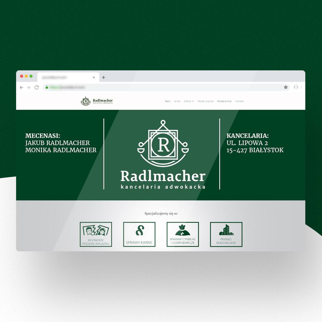 Grafika przedstawia zrzut ekranu przeglądarki internetowej. Widzimy stronę internetową prawnicy.bialystok.pl