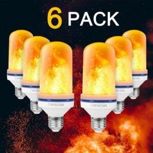 Die beste Option für Flammenglühbirnen: Pretigo LED-Glühbirnen mit Feuerflammeneffekt, 6 W.
