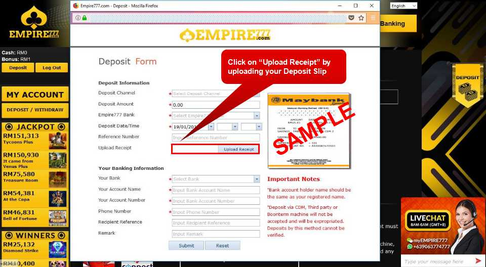 Malaysia Online Casino Empire777 Deposit Form Guide 8