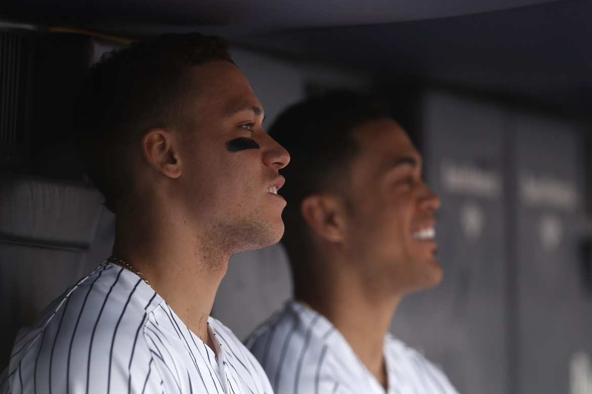 New York Yankees' Aaron Judge and Giancarlo Stanton.