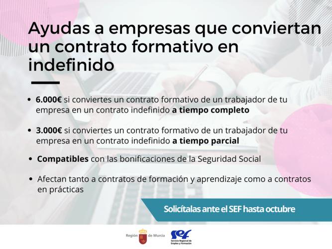 Ayudas de 6.000 € para empresas que conviertan un contrato formativo en indefinido