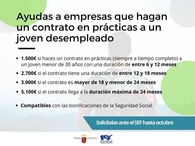 Ayudas de hasta 5.100 euros para las empresas que contraten, en prácticas, a jóvenes parados