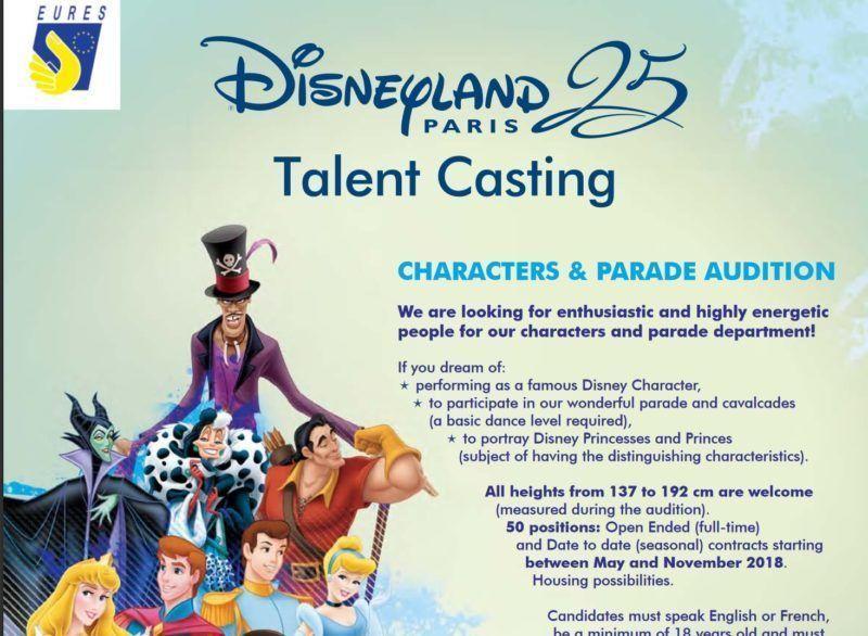 Oferta de trabajo en Disneyland Paris como personajes Disney en sus desfiles