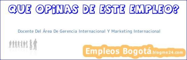 Docente Del Área De Gerencia Internacional Y Marketing Internacional