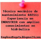 Técnico mecánico de mantenimiento &8211; Experiencia en INDUSTRIA con amplios conocimientos en hidráulica