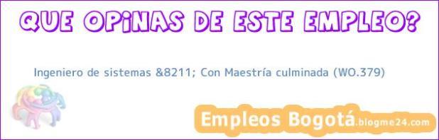 Ingeniero de sistemas &8211; Con Maestría culminada (WO.379)